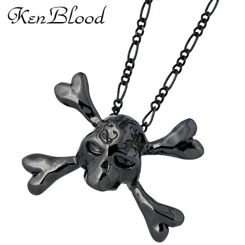 KEN BLOOD【ケンブラッド】 トライアンフ シルバー ブラック スカル ネックレス シルバーアクセサリー シルバー925 KP-354BK