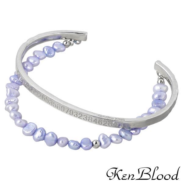 KEN BLOOD【ケンブラッド】 シルバー バングル 淡水パール シルバーアクセサリー シルバー925 KP-376P-SV