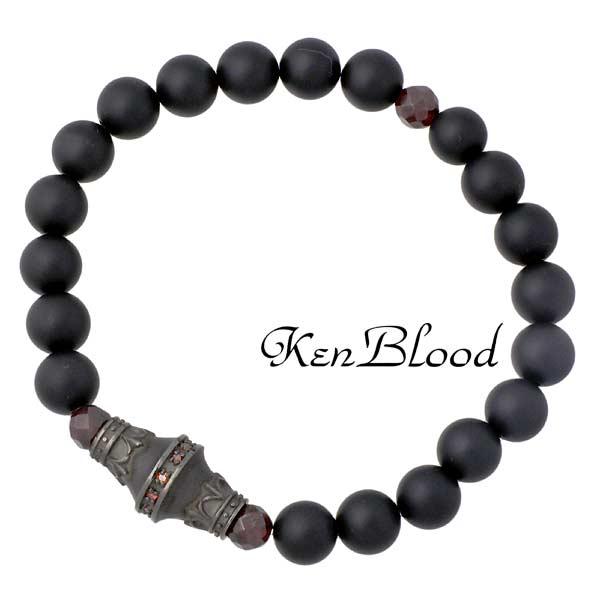 KEN BLOOD【ケンブラッド】 マットオニキス シルバー ブレスレット アクセサリー シルバー925 スターリングシルバー KP-379OX
