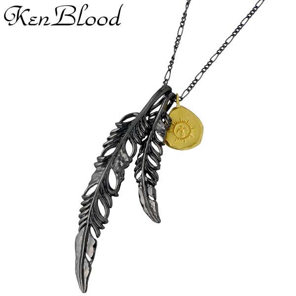 KEN BLOOD【ケンブラッド】 ダブル フェザー シルバー ネックレス アクセサリー ブラック シルバー925 スターリングシルバー KP-398BK