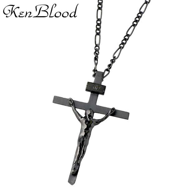 KEN BLOOD【ケンブラッド】 クロス シルバー ネックレス ブラック 十字架 シルバーアクセサリー シルバー925 KP-403BK