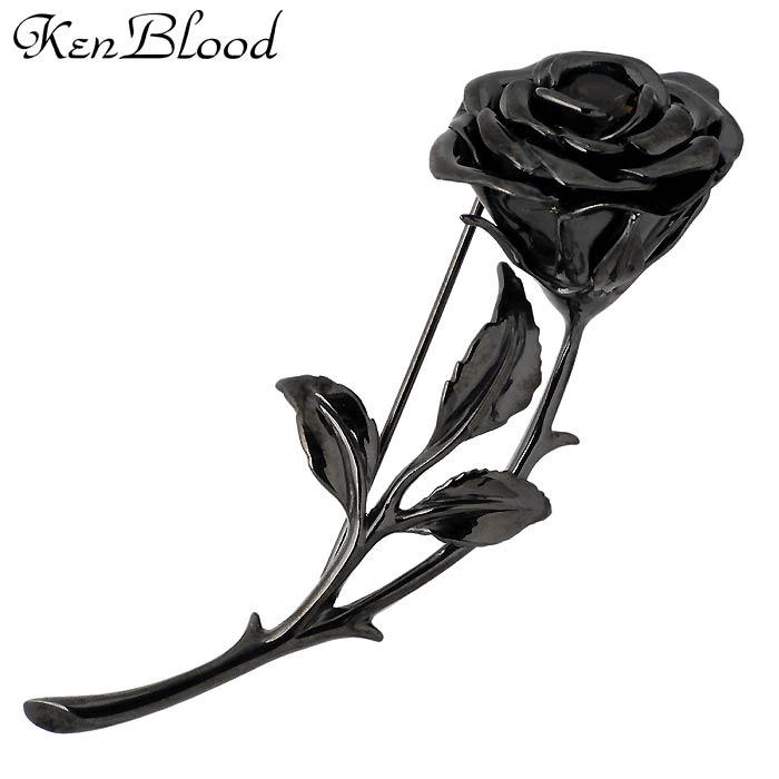 KEN BLOOD【ケンブラッド】ブラック ローズ シルバー ピンブローチ メンズ KP-454