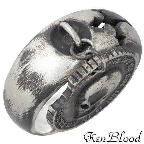 KEN BLOOD【ケンブラッド】 フィロソフィー シルバー リング スカル コイン 指輪 15~23号 シルバーアクセサリー シルバー925 KR-231AtSV