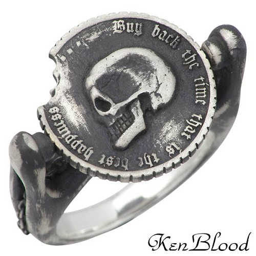 KEN BLOOD【ケンブラッド】 オナー シルバー リング スカル コイン 指輪 アクセサリー 9~19号 シルバー925 スターリングシルバー KR-236AtSV