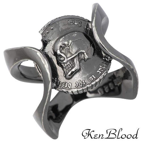 KEN BLOOD【ケンブラッド】 プライド シルバー リングA ブラック スカル コイン 指輪 19~25号 シルバーアクセサリー シルバー925 KR-237BK