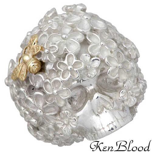 KEN BLOOD【ケンブラッド】 ワンス スカル シルバー リング K18 フラワー 指輪 15~23号 シルバーアクセサリー シルバー925 KR-246SV