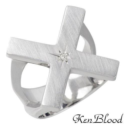KEN BLOOD【ケンブラッド】 シルバー リング ダイヤモンド マット仕上げ メンズ 指輪 アクセサリー 13~25号 シルバー925 スターリングシルバー KR-252M