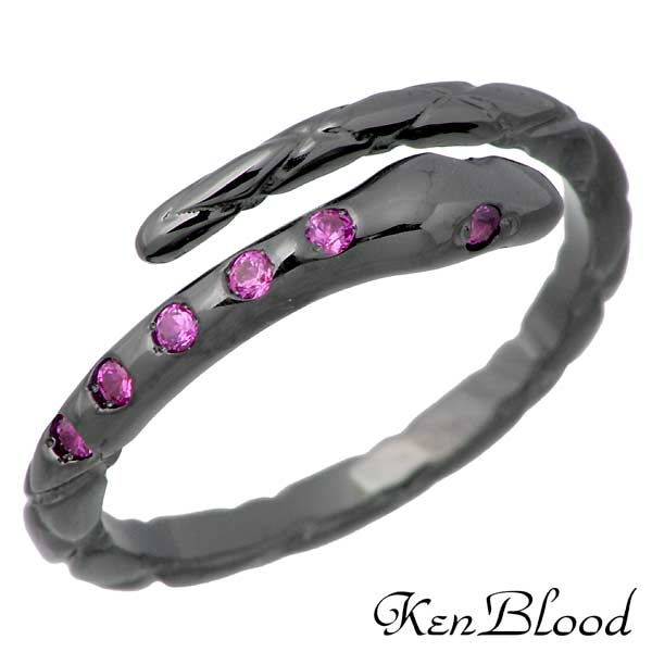 KEN BLOOD【ケンブラッド】 スネーク シルバー リング ブラック ストーン 指輪 11~21号 シルバーアクセサリー シルバー925 KR-258BKR