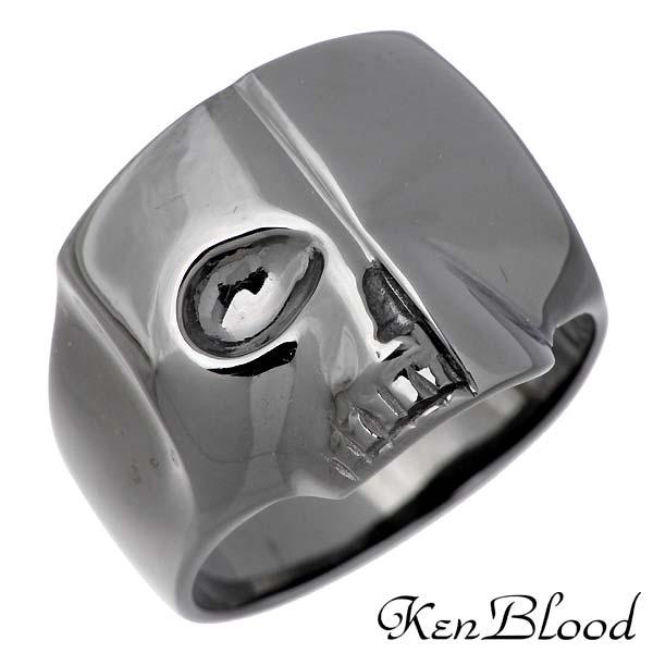 KEN BLOOD【ケンブラッド】 スカル シルバー リング ブラック 指輪 アクセサリー ドクロ 9~21号 シルバー925 スターリングシルバー KR-267BK