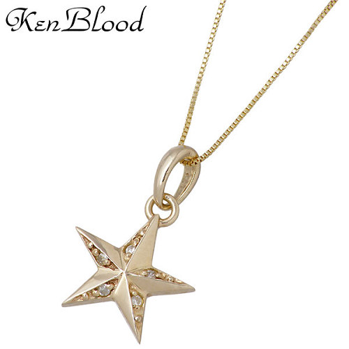 KEN BLOOD【ケンブラッド】 皐月星七モデル スター ネックレス アクセサリー チェーン付き ダイヤモンド KS-11