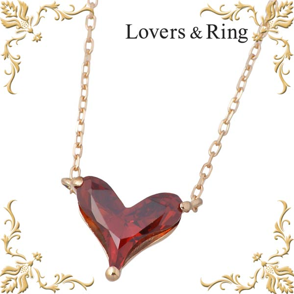 Lovers & Ring【ラバーズリング】 K10 ピンクゴールドペンダント キュービック ハート ネックレス LSP-6006CZRPK