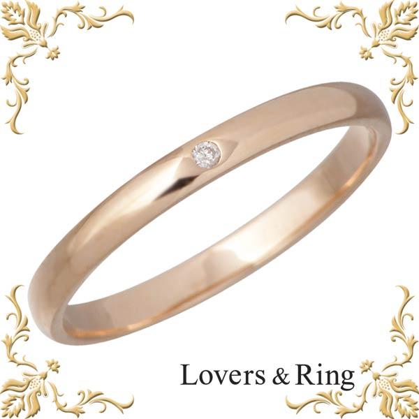 ラバーズリング Lovers & Ring 刻印可能 K10 ピンクゴールドリング ダイヤモンド 指輪 アクセサリー 5~23号 LSR-0601DPK