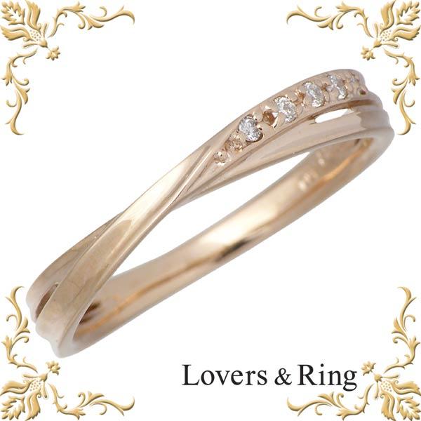 Lovers & Ring【ラバーズリング】 刻印可能 K10 ピンクゴールドリング ダイヤモンド 指輪 アクセサリー 5~15号 LSR-0656DPK