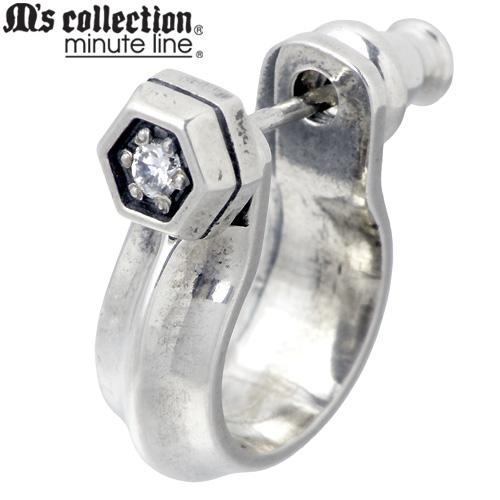 M's collection【エムズコレクション】 フープ型 シルバー ピアス アクセサリー 1個売り 片耳用 キュービック シルバー925 スターリングシルバー M0151-155