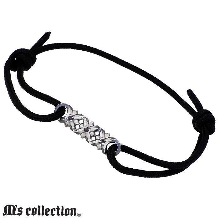 エムズ コレクション M's collection シルバー コード ブレスレット アクセサリー スリー スタッズ メンズ XB-035