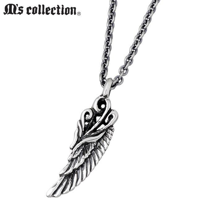 M's collection【エムズ コレクション】 フェザー シルバー ネックレス アクセサリー メンズ 羽根 XP-071