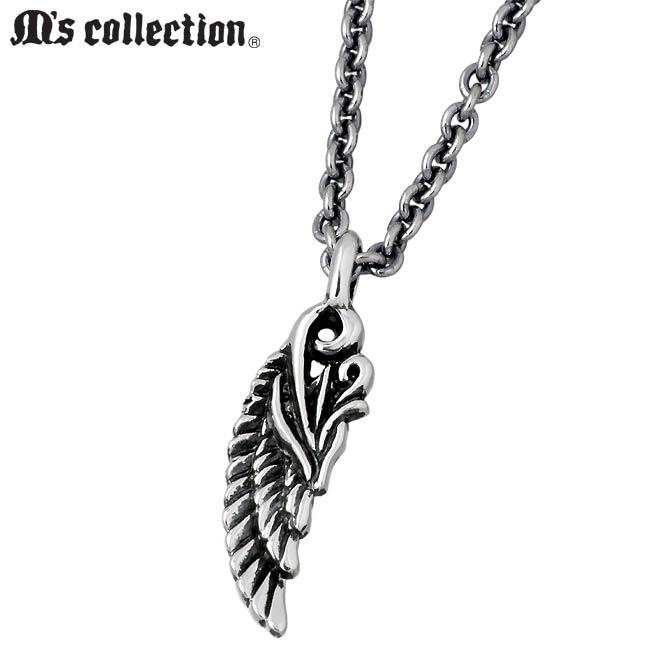 M's collection【エムズ コレクション】 フェザー シルバー ネックレス アクセサリー レディース 羽根 XP-072