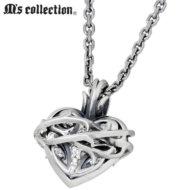 M's collection【エムズ コレクション】ブランブル ハート シルバー ネックレス メンズ ダイヤモンド XP-077