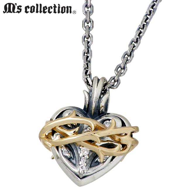 M's collection【エムズ コレクション】 ブランブル ハート シルバー K10 ネックレス アクセサリー メンズ ダイヤモンド XP-078