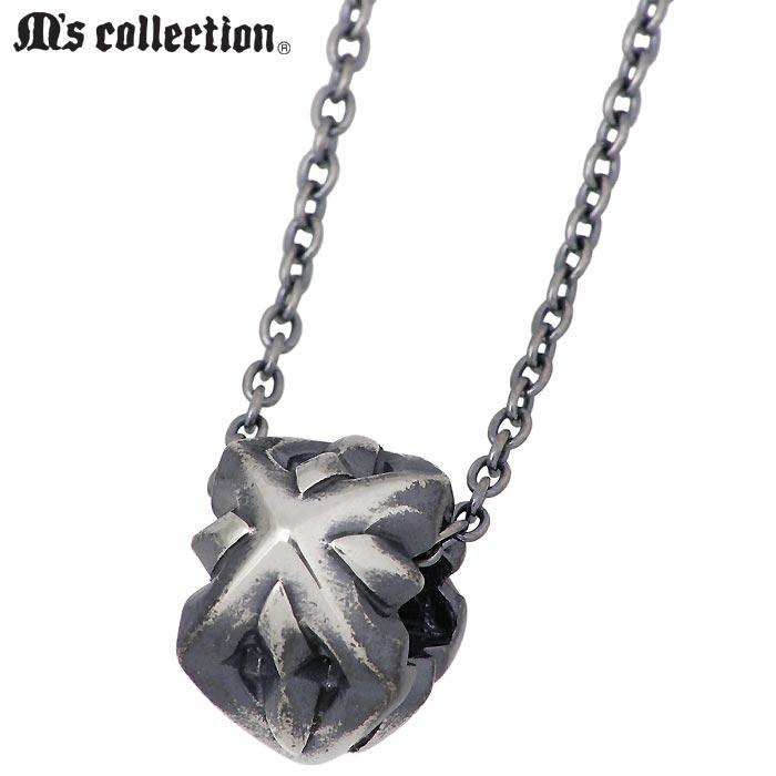 M's collection【エムズ コレクション】 シルバー ネックレス アクセサリー スリー スタッズ ビーズ メンズ レディース XP-142