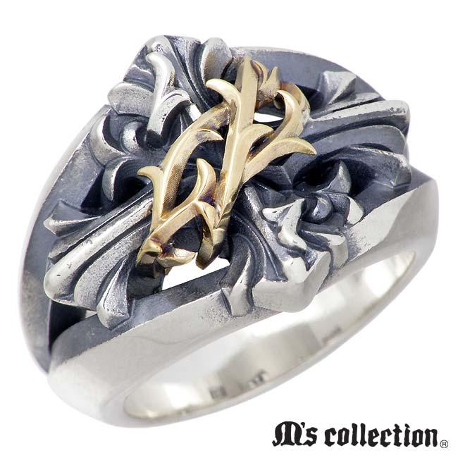 M's collection【エムズ コレクション】ブランブル クロス シルバー K10 リング 指輪 メンズ 13~27号 十字架 XR-015