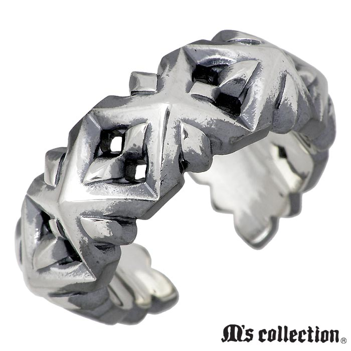 M's collection【エムズ コレクション】 シルバー リング セブン スタッズ フリー メンズ 指輪 アクセサリー 15~23号 XR-025
