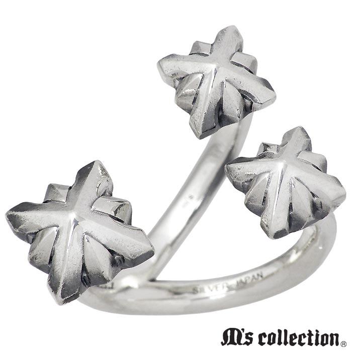 M's collection【エムズ コレクション】 シルバー リング スリー スタッズ フリー メンズ 指輪 アクセサリー 15~23号 XR-026