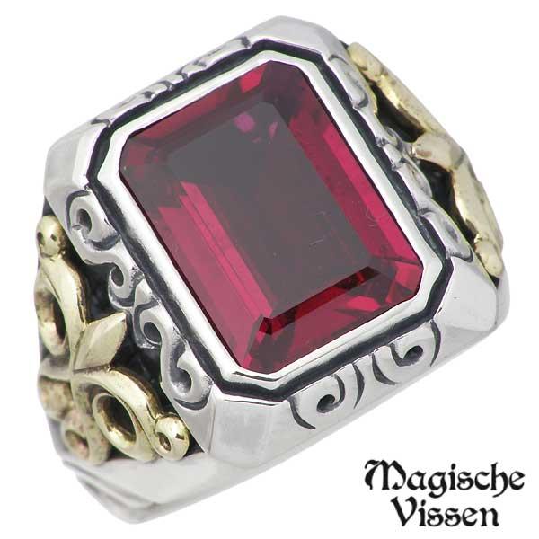 Magische Vissen【マジェスフィッセン】 シルバーx真鍮 リング ストーン 指輪 アクセサリー 10~25号 シルバー925 スターリングシルバー OZR-044