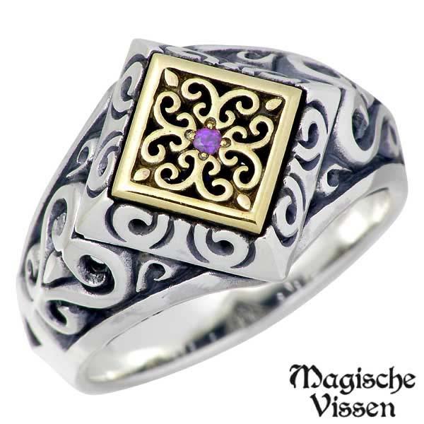 Magische Vissen【マジェスフィッセン】 シルバーx真鍮 リング ストーン 指輪 アクセサリー 10~25号 シルバー925 スターリングシルバー OZR-082AM