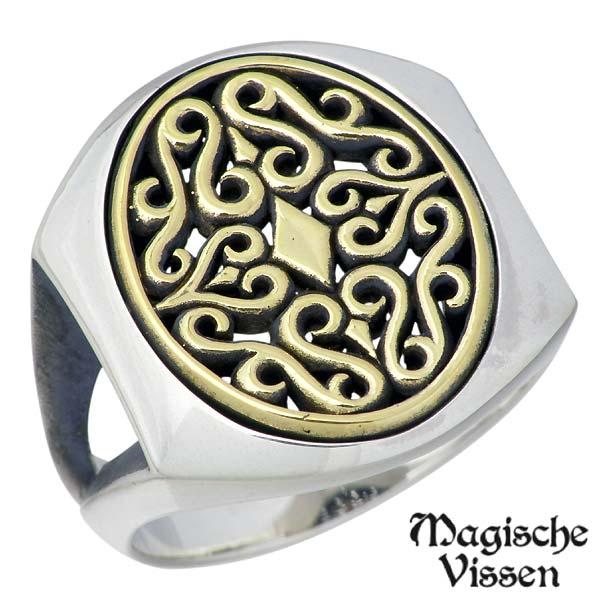Magische Vissen【マジェスフィッセン】 メダリオン シルバー リング 真鍮 指輪 アクセサリー 15~25号 シルバー925 スターリングシルバー OZR-106