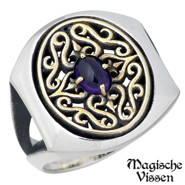 Magische Vissen【マジェスフィッセン】 メダリオン シルバー リング ストーン 真鍮 指輪 アクセサリー 15~25号 シルバー925 スターリングシルバー OZR-108