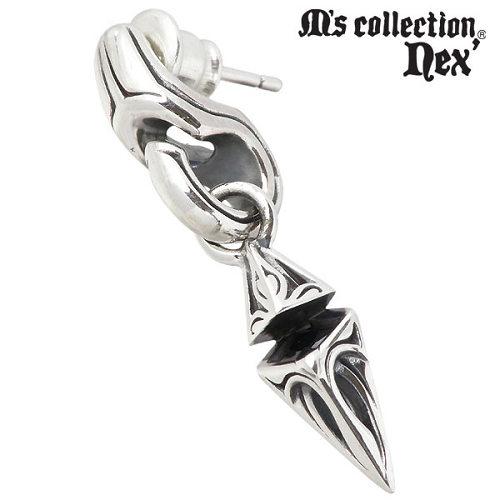 M's collection【エムズコレクション】 ブラックキュービック スタッド シルバー ピアス アクセサリー 1個売り 片耳用 シルバー925 スターリングシルバー X0207BLCZ