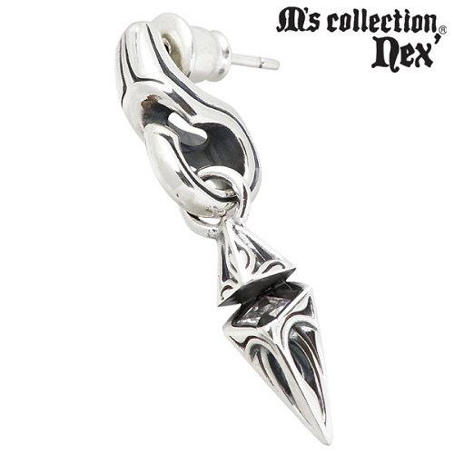 M's collection nex'【エムズコレクション】 クリアキュービック & スタッド シルバー ピアス 1個売り 片耳用 シルバーアクセサリー シルバー925 X0207CZ