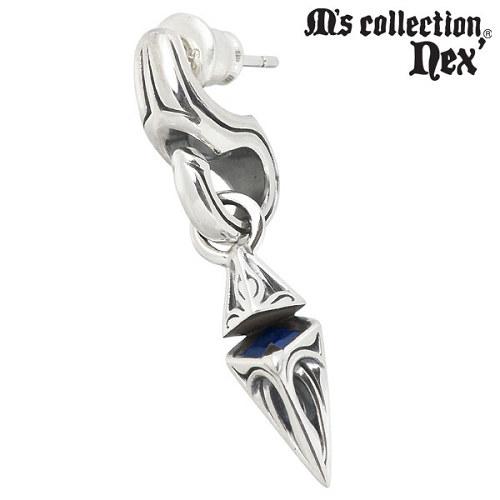 M's collection【エムズコレクション】 合成サファイア スタッド シルバー ピアス アクセサリー 1個売り 片耳用 シルバー925 スターリングシルバー X0207SAG