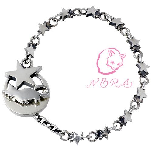 NORA【のら ノラ】 月ネコ シルバー ブレスレット Mサイズ シルバーアクセサリー シルバー925 NR-B-0006-M