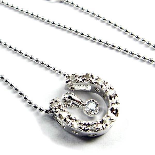 シルバー ネックレス 誕生石 ダイヤモンド 馬蹄 ホースシュー 3月 アクアマリン シルバーアクセサリー シルバー925 S341-03