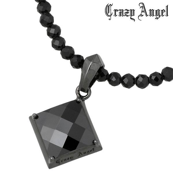 Crazy Angel【クレイジーエンジェル】グリッター シルバー ネックレス ブラックキュービック ブラックスピネル メンズ リバーシブル CA-601
