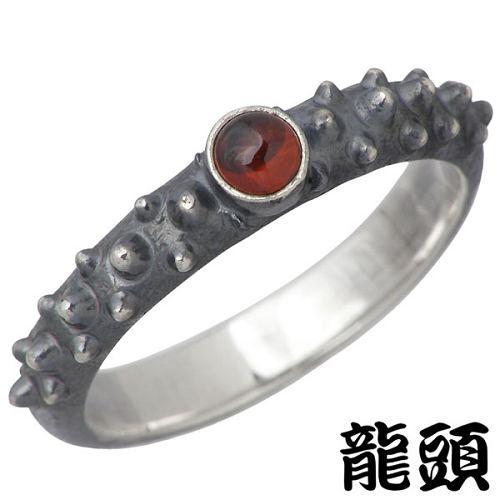 RYUZU【龍頭】 霰 あられ シルバー リング 燻し 石付き 指輪 アクセサリー 12~26号 シルバー925 スターリングシルバー シルバー950 RYUZU-R-99