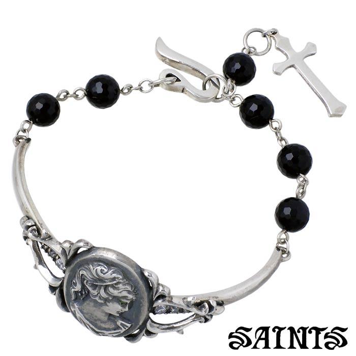 SAINTS【セインツ】女神 シルバー ブレスレット ハーフバングル メンズ ストーン SSB-25
