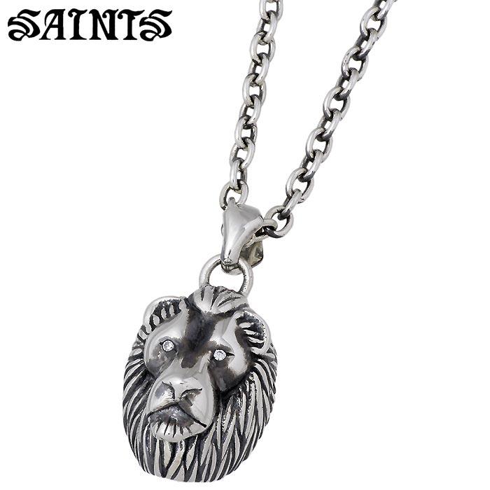 SAINTS【セインツ】 シルバー ネックレス アクセサリー 獅子王 メンズ ライオン キュービック SSP-840