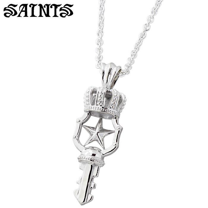 SAINTS【セインツ】ミニ クラウン キー シルバー ネックレス メンズ レディース 王冠 SSP10-05S