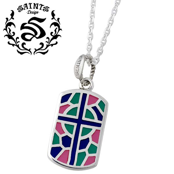 SAINTS【セインツ】 ステンドグラス シルバー ネックレス ピンク シルバーアクセサリー シルバー925 SSP5-002PK