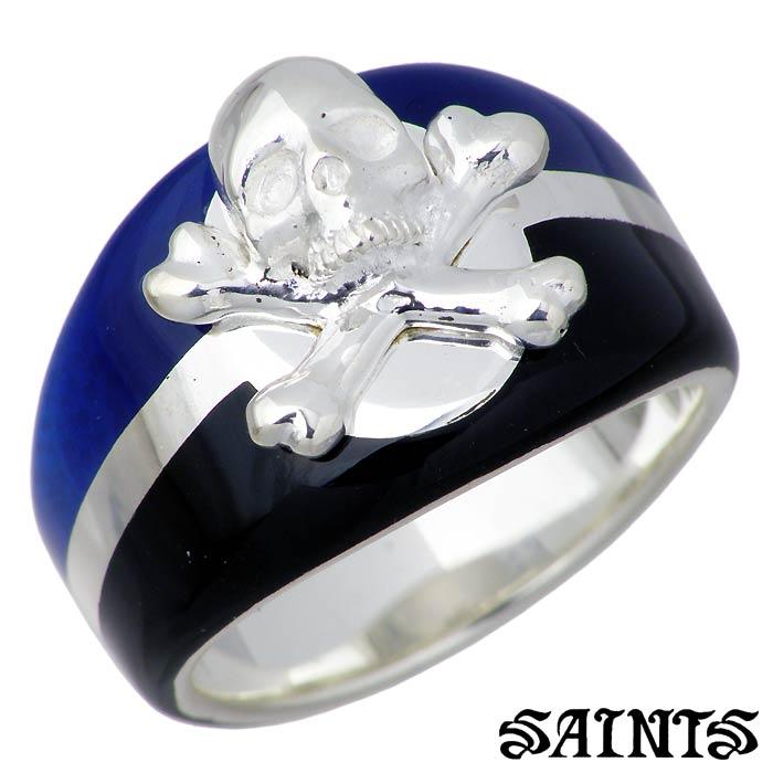 SAINTS【セインツ】 ブルー カリビアン シルバー リング 指輪 アクセサリー メンズ スカル 17~21号 SSR3-124SV