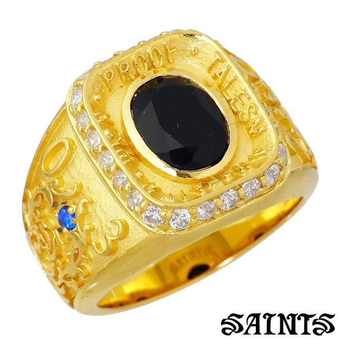 SAINTS【セインツ】シルバー リング 指輪 08 カレッジ ゴールド メンズ 17~21号 キュービック シルバーアクセサリー アクセ ギフト プレゼント SSR8-68GD