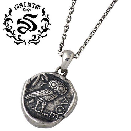 SAINTS【セインツ】 ミネルヴァの梟 ふくろう コイン シルバー ネックレス アクセサリー シルバー925 スターリングシルバー SSP11-183-169C