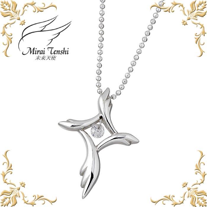Mirai Tenshi【未来天使】 祈りの翼 シルバー ネックレス アクセサリー キュービック レディース クロス 十字架 MIP-1139CZ