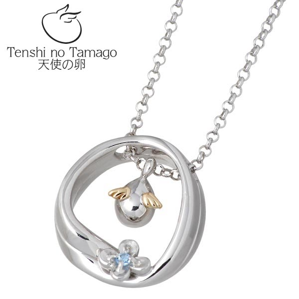 Tenshi no Tamago【天使の卵】 天使の卵 永遠の花 シルバー ネックレス ロジウム加工 天使1166BTRM ブルートパーズ フラワー シルバーアクセサリー シルバー925 シルバー950 tenshi-1166BTRM