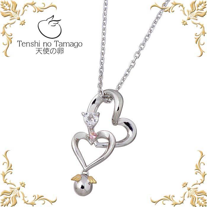 天使の卵【Tenshi no Tamago】愛の絆 メビウス ハート シルバー ネックレス ホワイトトパーズ レディース tenshi-1186PTRM