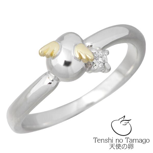 Tenshi no Tamago【天使の卵】 天使の卵 バースデー シルバー リング ロジウム加工 天使2119DRM 4月誕生石付き ダイヤモンド 指輪 アクセサリー 7~15号 シルバー925 スターリングシルバー シルバー950 tenshi-2119DRM