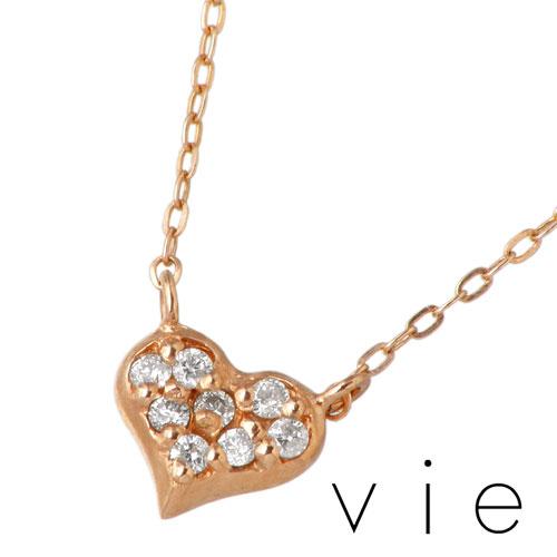 vie【ヴィー】 K10 ピンクゴールドハートネックレス アクセサリー ダイヤモンド K10PG PK vie-KN01010